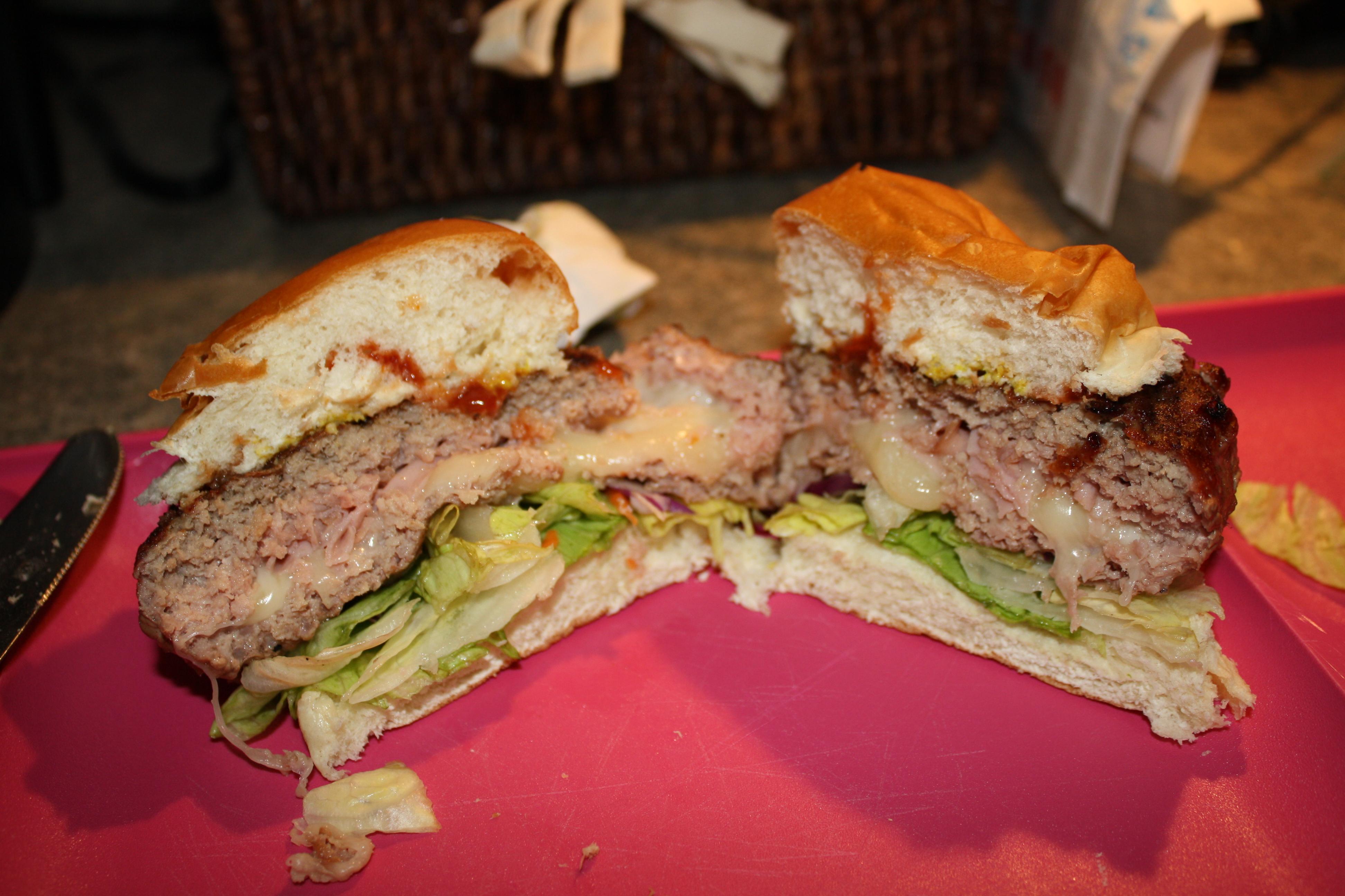 turkey burger stuffed with ham and provolone stufz backyard