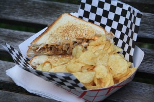 BBQ Pulled Pork Grilled Cheese with Caramelized Onions