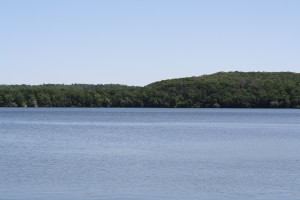Little Falls Lake from the swimming beach at Willow River State Park