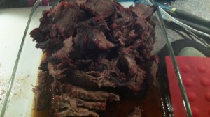 When your chuck roast reaches an internal temp of 190 degrees, pull it out of the smoker and let it rest, covered, for 1 hour.  Then slice it thinly and serve on a toasted kaiser roll with horseradish sauce or barbecue sauce.