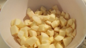 Put diced apples in a bowl with apple cider.  Turn to coat apple pieces to prevent browning.