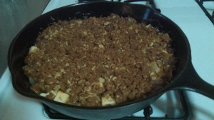 Serve your cast iron skillet apple crisp warm with whipped cream or ice cream.