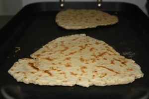 Place flatbread on griddle and cook until golden brown (3-4 minutes) then flip and cook other side.