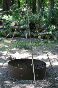 Campfire ring with tripod grill