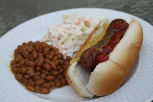 Hard Cider Grilled Bratwurst with Baked Beans and Cole Slaw