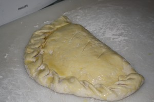 Calzone with egg wash