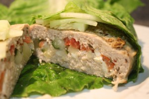 Chicken Gyro Stufz Burger in Romaine Lettuce Wrap