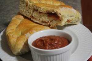 Dutch Oven Calzones with Dipping Sauce